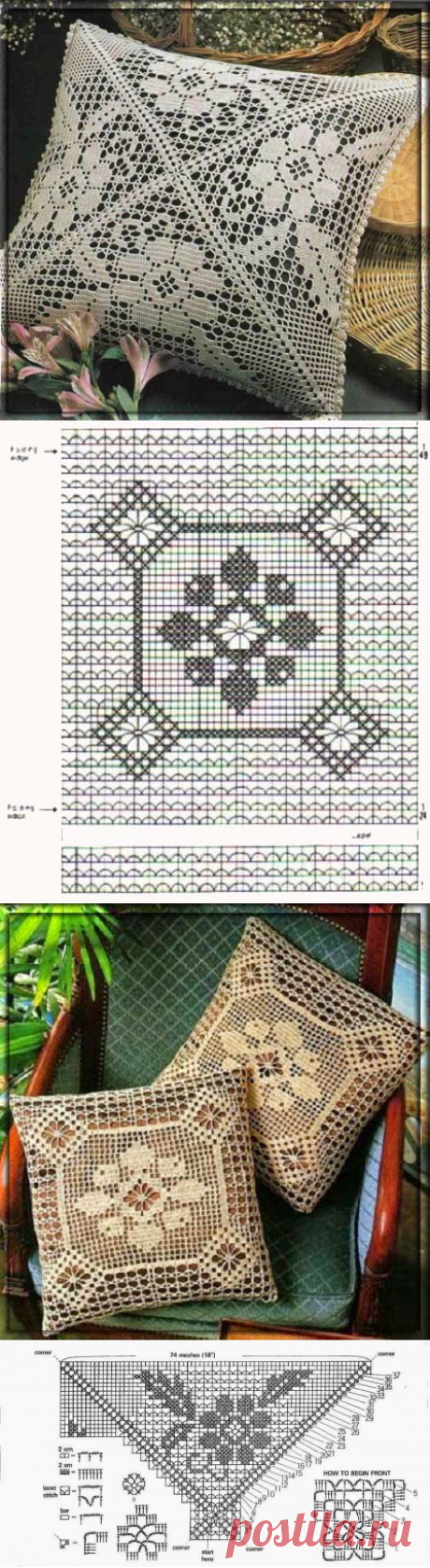 Openwork pillows. Fillet knitting | Cosiness and heat of my house