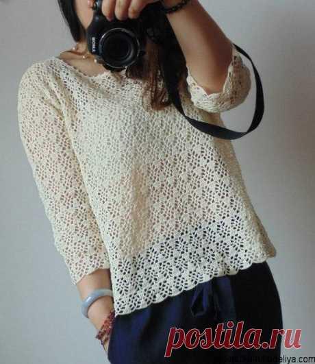Ажурный пуловер крючком Ажурный пуловер крючком для лета. Схемы и выкройки прилагаются.
