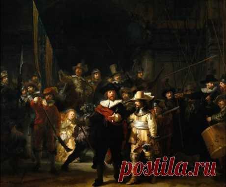 """Ночной дозор. Рембрандт Ван Рейн. Одна из самых известных работ Рембрандта """"Групповой портрет стрелков-добровольцев города Амстердама""""(1642), последние два века она известна под названием «Ночной дозор». Гильдия амстердамских стрелков представляла собой что-то похожее на отряд народной милиции.Люди, отнюдь не военные, добровольно шли в этот отряд чтобы защитить Амстердам от опасности."""