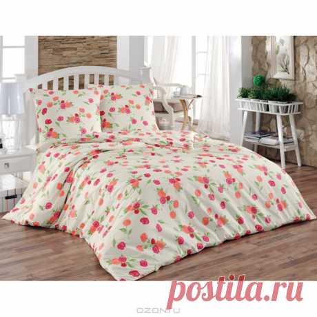 """Милое постельное белье """"Камелия"""" нежной расцветки. Бязевый 1,5 спальный комплект. Купить комплект постельного белья за 1 071 рублей."""