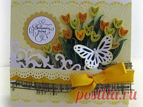 Мастер-класс по созданию открытки с тюльпанами. | Журнал Ярмарки Мастеров Мастер-класс по созданию открытки с тюльпанами. – бесплатный мастер-класс по теме: Квиллинг ✓Своими руками ✓Пошагово ✓С фото