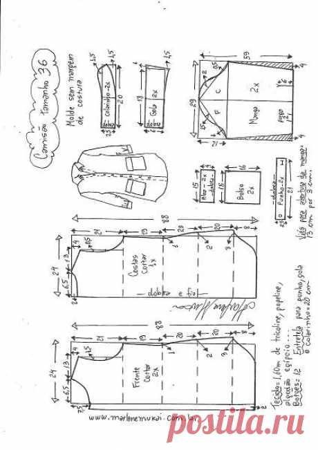 Выкройка стильной женской рубашки.Размер 36 – 48 (Шитье и крой) – Журнал Вдохновение Рукодельницы