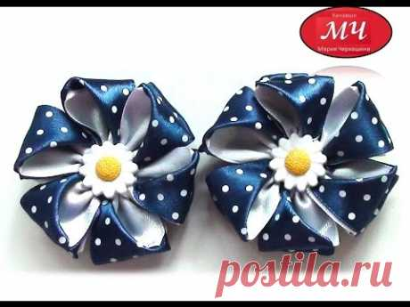 Elastic band MK with flowers from a satin ribbon. Kanzasha. Flowers from tapes. DIY Ribbon flower - YouTube