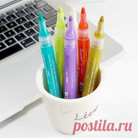 Акриловые маркеры для рисования на стекле, керамике, бумаге пять вариантов цвета ================================= #alishopping