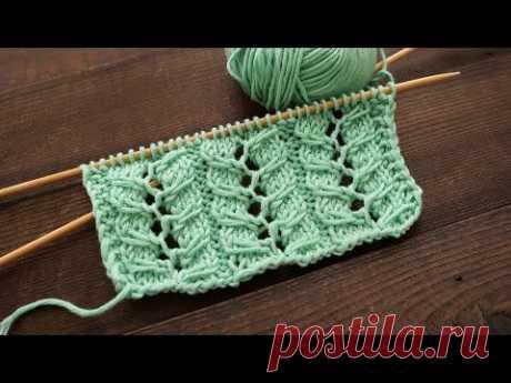 Узор из ажурных кос спицами ⭐ Lase Cables knitting pattern