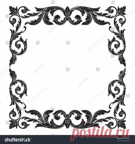 Стоковая векторная графика «Vintage Baroque Scroll Ornament Engraving Floral» (без лицензионных платежей), 468500921: Shutterstock