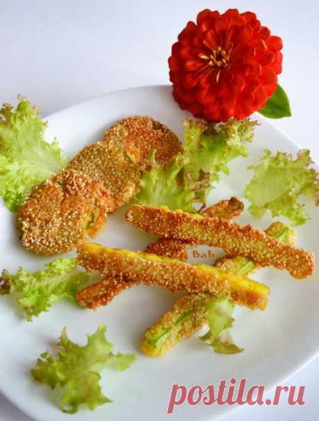 Кабачки в кляре с кунжутом - пошаговый рецепт приготовления с фото