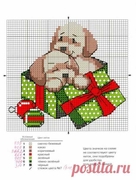 Подборка милых новогодних схем вышивки в детскую копилочку