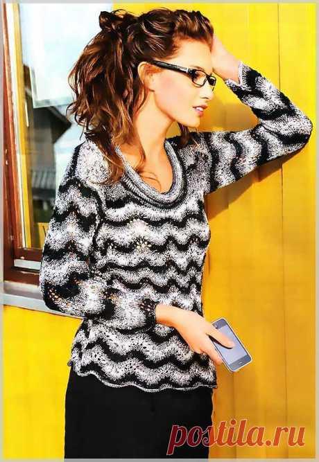 Полосатый пуловер спицами с волнистым узором - Портал рукоделия и моды Полосатый пуловер спицами с волнистым узором - Портал рукоделия и моды