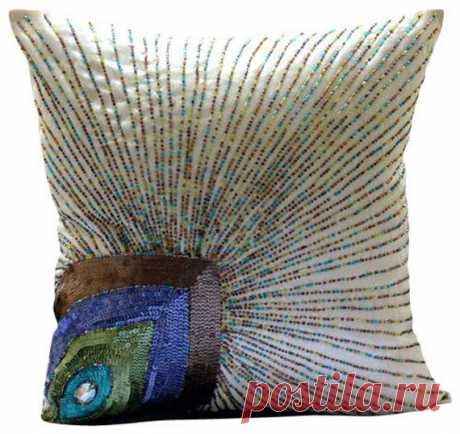 Decorative Euro Sham Covers Accent Pillow Couch Pillow 26 Inch Silk Dupion Euro Sham Cover Sequins Embroidered Home Living - Peacock Beauty This Euro Sham Cover is made using a ivory white color art silk dupioni fabric, decorated with sequins and beads in different colors to create a beautiful peacock feather design. This design will dazzle your home.  The back of the pillow is made using the same ivory white color dupioni