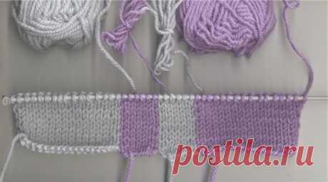 Цветное вязание: двухцветный жгут и двухцветная английская резинка