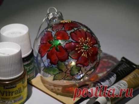 Видеоурок: роспись витражными красками «Цветы Шиповника» на елочном шаре – Ярмарка Мастеров