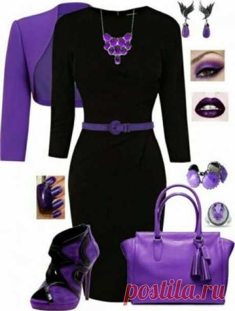 Фиолетовый цвет в сетах с платьями. — Модно / Nemodno