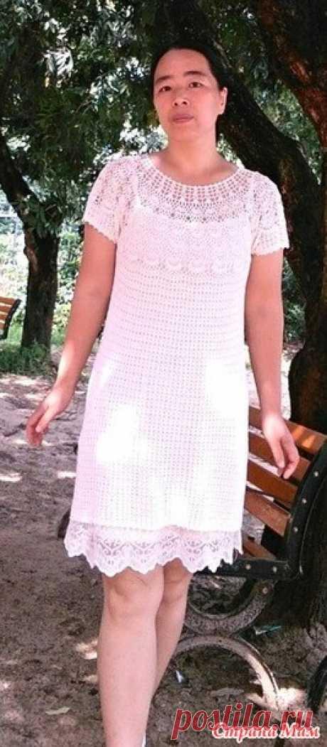 Классическое белое платье связанное сверху вниз. - Все в ажуре... (вязание крючком) - Страна Мам