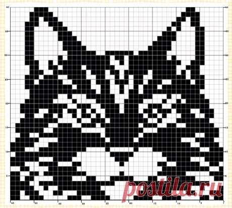 """Схема """"Кошка"""" для варежек, митенок или для детских изделий."""