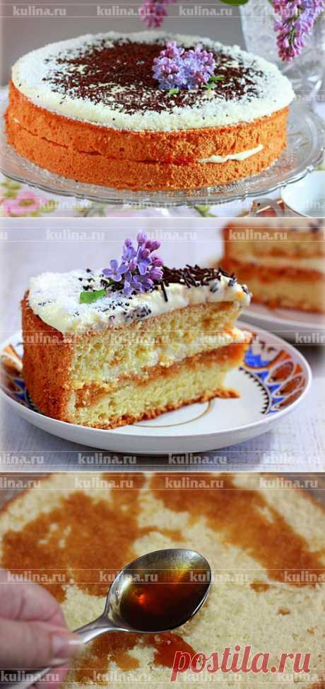 """Бисквитный торт с кремом """"Пломбир""""."""