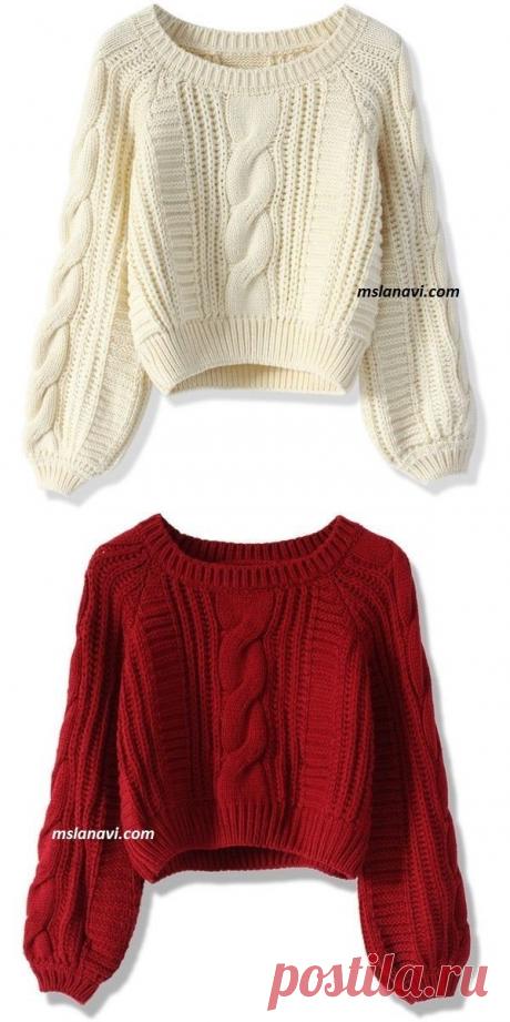 Короткие вязаные свитера с простыми узорами - Вяжем с Лана Ви
