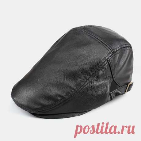 Men Genuine Leather Solid Color Casual Leather Forward Hat Beret Hat - US$38.99