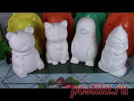 Las figurinas de yeso el Trabajo con las formas de plástico de HobbiMarket - YouTube