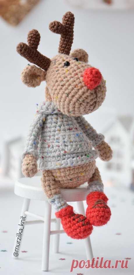 PDF Олень Красавчик крючком. FREE crochet pattern; Аmigurumi doll patterns. Амигуруми схемы и описания на русском. Вязаные игрушки и поделки своими руками #amimore - олень, оленёнок.
