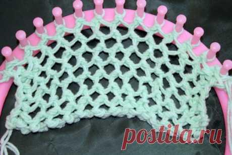Учимся вязать на луме (Loom knitting). Урок восьмой: вязание крупной сетки