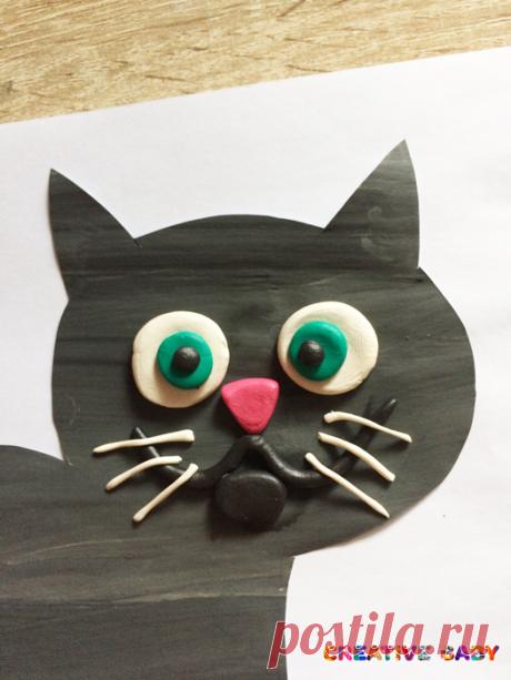 """Аппликация """"Черный кот"""""""