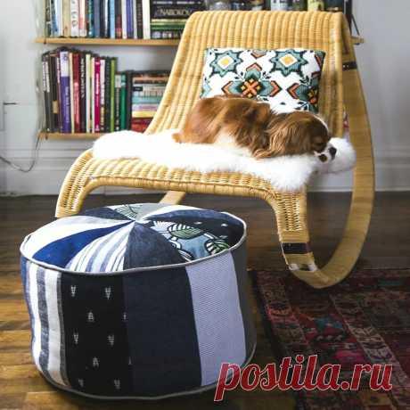 Утилизация остатков ткани: лоскутный пуф в форме цилиндра — Мастер-классы на BurdaStyle.ru