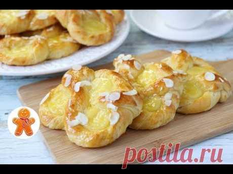 Сдобные Слоеные Крендели с Заварным Кремом ✧ Puddingbrezeln aus Plunderteig