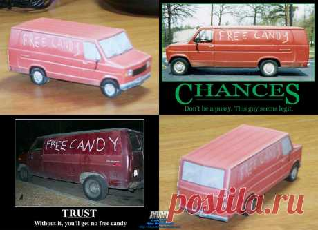 "'Free Candy' Van Assembled Anyone ever heard the saying ""An exam is the quickest way to get your room cleaned""? Well, for me, replace ""room cleaned"" with ""pointless papercraft model"", and this is what you get. Partially insp..."