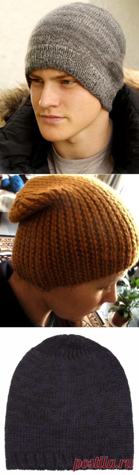 Мужская шапка спицами с описанием и мастер-классами: 9 вариантов