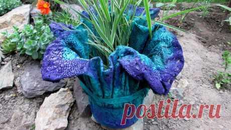 Как из тряпки и цемента сделать креативный вазон для сада