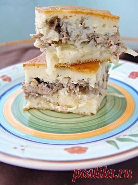 Заливной пирог с сайрой и картофелем из советского прошлого | Вкусные рецепты