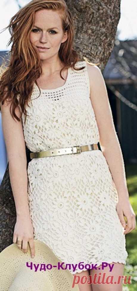 Платье с квадратными цветочными мотивами вязаное крючком 796 |