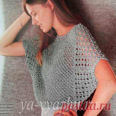 """Knitted female pullover with a sleeve \""""bat\"""" - ease and lightness! 