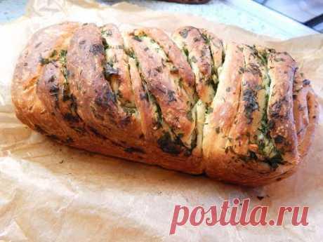 Все просят рецепт! Домашний хлеб с чесноком и зеленью. - YouTube