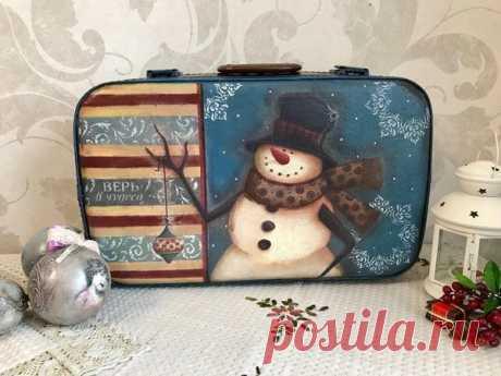 Мастер-класс смотреть онлайн: Переделываем старый чемодан в новогодний чемодан для елочных игрушек