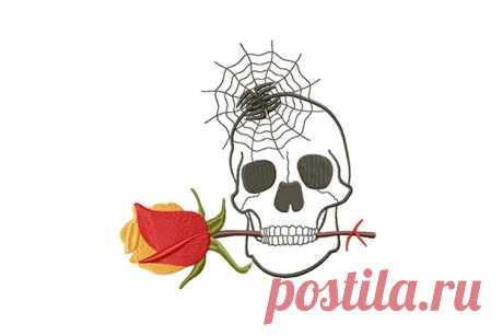 Очаровательный череп, роза и паучок, дизайн машинной вышивки