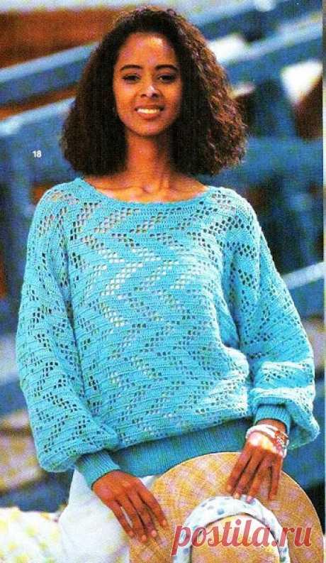 Женский бирюзовый пуловер с филейным узором крючком – 2 схемы с описанием