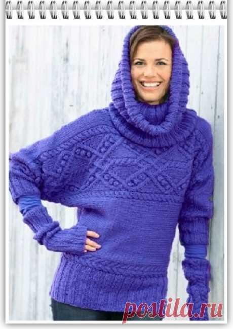 Галкин Дневник: Женский пуловер спицами (3) с воротником снуд-хомут