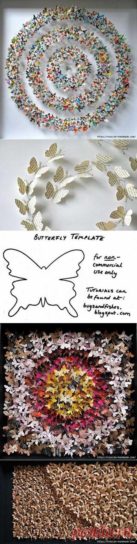 Бумажные бабочки в интерьере. Шаблон бабочки.