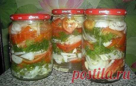In Polish When the first time did tomatoes very much regretted that it is not enough since ate very quickly this year surely I will make more In the pasteurized banks we stack layers - onions half rings - parsley + fennel + garlic small cut - tomatoes segments and to alternate so, but surely top layer has to be onions Then we fill in with the boiling marinade (on 1 l of water of 3 St of a spoon of sugar and 1 St a salt spoon) Add 1 St a spoon rast oils of 1 St a spoon of 9% of vinegar and roll up banks or it is possible in banks with zavinchivayushche