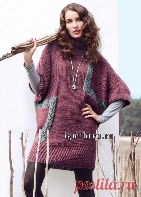 Уютное, практичное и теплое платье-кокон, дополненное сумкой в тон, от Verena. Спицы