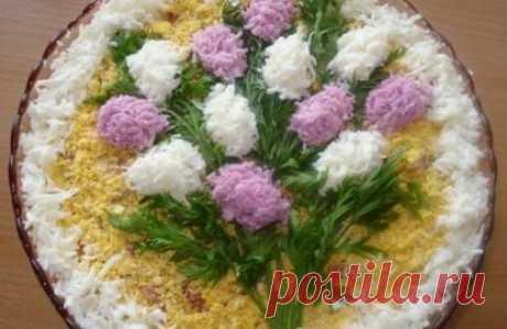 """Салат """"Ветка сирени"""" / Рыбные салаты / TVCook: пошаговые рецепты c фото"""