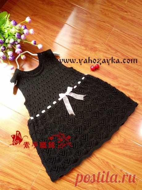 Чёрное платье для девочки спицами. Как связать детское нарядное платье спицами | Я Хозяйка