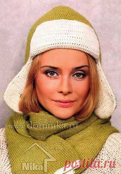 """Knitted cap with ear-flaps hook\"""" Knitting by a hook and spokes of the scheme and model"""