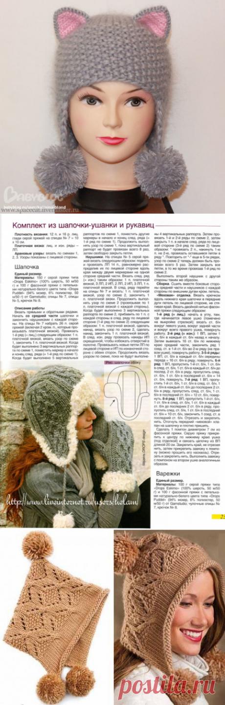 Зимние теплые шапочки для девочек и мам, связанные спицами — Делаем руками
