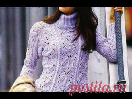 Нежно-сиреневый женственный свитер спицами