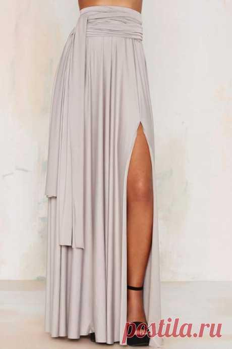 (9360) Wildfire Maxi Skirt - Gray