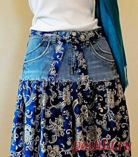 6 идей как сшить классную юбку из старых джинс легко и просто.