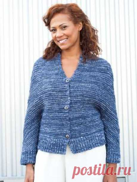 Cardigan a blue spruce the Nice cardigan spokes for women with a sleeve a bat connected from a wool yarn of fantasy coloring. The product matches one detail...